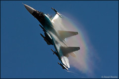 Sukhoi Su-34 (Pavel Vanka) Tags: plane airplane fly flying rainbow fighter russia moscow air jet spot airshow planes missile spotting platypus humidity aerobatic armed maks sukhoi fullback lii fighterbomber su34 ramenskoe zhukovskiy russianairforce
