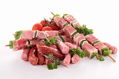 assortment of raw meats (memory123451234) Tags: food france chicken dinner tomato lunch pepper cuisine raw beef sausage bbq fresh meat grill pork whitebackground butcher barbecue meal sausages chop lamb grilling parsley edible kebab assortment isolated meats skewer assorted veal nutrition butchery merguez