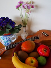 Still Life III (rgrant_97) Tags: flowers music stilllife flores fruit ukulele bodegn