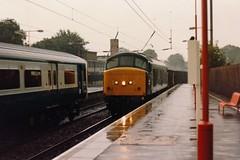 19860804 017 Radlett. During A Downpour 45122 (D11) Heads An Up Ballast Working (15038) Tags: br diesel trains locomotive railways britishrail radlett d11 class45 45122