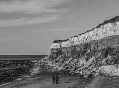 Hunstanton Cliffs - March 2016 (GOR44Photographic@Gmail.com) Tags: sea sky people bw cliff cloud water mono coast rocks norfolk fujifilm hunstanton xf1 gor44