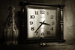 Passing Time (IAN GARDNER PHOTOGRAPHY) Tags: clock time noiretblanc pocketwatch candlewax artofimages chiantibotttle