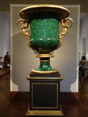 New York. Metropolitan Museum of Art. Malachite urn. A bit big for any fireplace mantle. (denisbin) Tags: newyork clock brooklyn subway icehockey metropolitanmuseumofart malachite urns goldclock frenchclock malachitevases