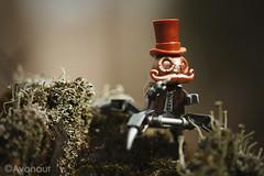 A Walk in the Park (Avanaut) Tags: portrait macro closeup toy toys outdoors moss lego moustache copper custom originality steampunk minifigure unofficial doktor mechtorian crazybricks stuckinplastic