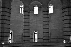 Pisa Baptistry interior 8 (PhillMono) Tags: travel light shadow italy white black art monochrome sepia architecture nikon arch empty tourist pisa column dslr renaissance baptistry d7100