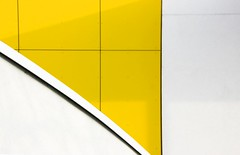 Yellow Waves (Andrea Kennard) Tags: blue red sky white abstract green lines yellow architecture contrast silver details curves minimal tiles colourful simple minimum