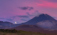 Full moon at Mount Doom... (muzzpix-nz) Tags: sunset red newzealand moon mountain clouds volcano nationalpark cone hiking fullmoon mount lotr alpine moonrise doom tramping steep mountdoom breathtakinglandscapes alpinecrossing nattypark