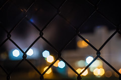 Behind the Fence (Evan's Life Through The Lens) Tags: camera blue light sky glass night dark lens long exposure bokeh sony f2 58mm helios vntage a7s