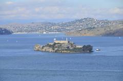 Alcatraz island as seen from Coit Tower (Mikhail Zhidko) Tags: california travel bridge usa tower skyline island golden bay gate san francisco view alcatraz coit