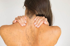 Woman With Upper Back And Neck Pain (harryarmsthong) Tags: woman muscles female neck naked person vertebra back pain hurt hand bare injury medical upper health massage sascha medicine spine tight disc shoulder stress disease rubbing ache strain clinical orthopaedic psychological cervical