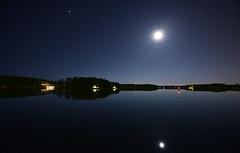 Nighty Night II (Kojaniemi) Tags: longexposure sea moon reflection water night forest stars island pier satellite moonlit shore jupiter beacon isle radar buoy waterway archipelago radartower seamark sealane kimmoojaniemi kojaniemi