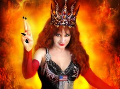 Sofia Metal Queen. Hellfire (Sofia Metal Queen) Tags: red cute beauty smile yellow hair fire goldberg power bright sofia witch magic young longhair 666 hellish queen crown redhair beautyqueen satanic magician blackdress dollface heiress photomodel satanist baphomet blackmagic metalqueen