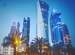 Doha Towers (m7diab) Tags: life city blue sunset building home mobile night palms effects photography day gulf outdoor sony towers arab corniche filters m5 doha qatar ابراج قطر الدوحة traviling كورنيش xperia