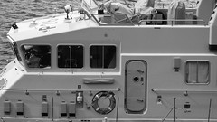 HMS Archer 02 (byronv2) Tags: sea blackandwhite bw monochrome port docks river coast scotland boat blackwhite edinburgh sailing ship harbour military navy vessel forth coastal northsea maritime leith firthofforth dockyard royalnavy urnu edimbourg leithdocks portofleith navalreserve patrolboat p264 archerclass trainingboat rnbforth hmsarcher
