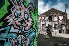 Time is on my side (ericbaygon) Tags: street urban rabbit bunny abandoned clock wall graffiti nikon paint decay tag dessin peinture lucky does horloge rue mur antwerpen lapin oubli abandonn cony nikonpassion d300s