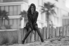 Najwa (aminefassi) Tags: portrait people blackandwhite bw black beach beauty leather fashion rock noir outdoor retrato morocco maroc casablanca monochrom mode 135mm   135mmf2l  aminefassi najwasabbar