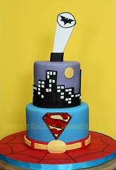 Superheroes birthday cake (Tramie's Kitchen) Tags: cake spiderman superman batman fondant