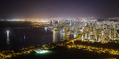 Hawaii at Night (Marvin Chandra) Tags: ocean longexposure panorama night hawaii cityscape waikiki oahu 85mm diamondhead 2016 d600 marvinchandra