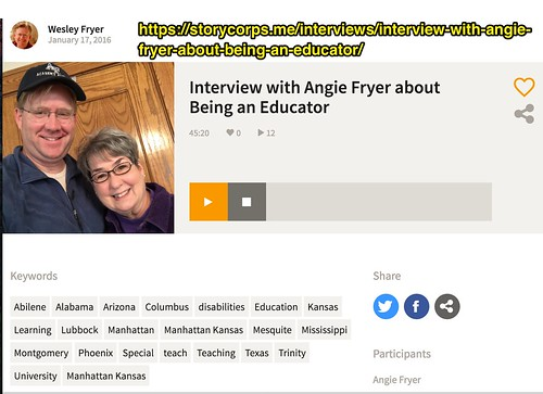 Storycorps Interview with Angie Fryer by Wesley Fryer, on Flickr