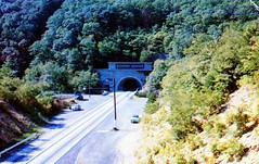 Entrance to Kittatinny Tunnel Pennsylvania Turnpike PA (Edge and corner wear) Tags: road railroad vintage pc highway pennsylvania postcard rr tunnel system pa interstate turnpike americas superhighway