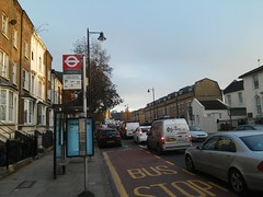 think i'll walk... grove road, mile end road e3, looking south, 2016-01-28, 16-13-25 (tributory) Tags: road street city winter sky bus london sunshine highway traffic transport bluesky busstop vehicles pollution transit e3 publictransport mileend trafficjam streetview eastlondon wintersun towerhamlets