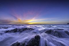 Evening Rush (Scott Farrell Photo) Tags: california winter sunset seascape water flow high long exposure pacific tide pacificocean orangecounty