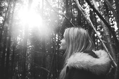 (nic lawrance) Tags: trees light shadow people sun nature girl contrast woodland dark shine figure shape