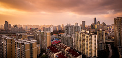 Hongqiao to Zhongshan Park (Rob-Shanghai) Tags: china leica city sunset sky sun cityscape shanghai panoramic leicaq