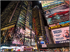 Times Square 2015 (henk.sijgers (on some; off some)) Tags: city nyc blue light red urban white ny black color green glass yellow architecture bronze night photoshop reflections concrete gold missing purple availablelight perspective olympus manmade nik acr businesstravel m43 lowpov layermask em5 digitalsensor aspectratio43 lr5 colorefex2 macphun piccure 35mmaov18mm noiselesspro 0918mmf4056