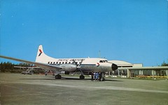 Convair 640 Airliner, Pacific Western Airlines, BC (SwellMap) Tags: architecture plane vintage advertising design pc airport 60s fifties aviation postcard jet suburbia style kitsch retro nostalgia chrome americana 50s roadside googie populuxe sixties babyboomer consumer coldwar midcentury spaceage jetset jetage atomicage