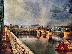 Vintage Chattanooga (Roland 22) Tags: morning blue red sky white mist reflection beautiful rain fog clouds lights flickr horizon northshore lamps walnutstreetbridge magical tennesseeriver artdistrict tennesseeaquarium marketstreetbridge deltaqueen chattanoogatennessee vintagechattanooga