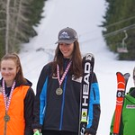 Red Mountain Fidelity BC Cup GS - U18 Podium March 4/16 - left to right: Kristina Natalenko, Zoe Belczyk, Katie Fleckenstein