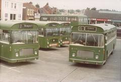Southern Vectis PDL492H -861 / PDL493H -862 / HDL412N -836 / HDL414N -838 . Newport July 1980 (busmothy) Tags: bristol newport re lh busstation ecw 6616 southernvectis pdl492h hdl414n pdl493h hdl412n