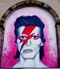 Bowie tribute (Victor W Adams) Tags: uk england david colour art public wall painting lumix graffiti bowie artist panasonic g5 tribute graffito ziggy stardust deceased