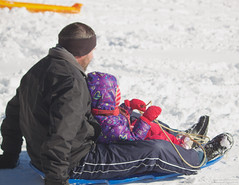 Parental Support (leelanau2010) Tags: blue winter red usa white snow kids mi fun parents lucy crazy sister christopher bumpy sledding northwoods