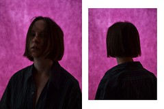 The other side (Adanethel) Tags: pink portrait woman selfportrait girl self back shadows purple atmosphere youngphotographers shorhair