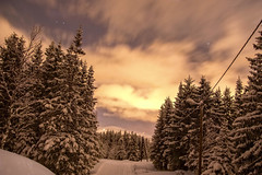 Moon lit up the skiing track even with moving clouds (Ingunn Eriksen) Tags: winter snow norway night clouds winterwonderland troms troms movingclouds