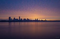 February Sunrise (nicknpd) Tags: uk seascape liverpool sunrise waterfront smooth mersey wallasey merseyside 3graces