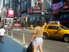 doug pruden hailing a nyc cab taxi times square (pushupman) Tags: nyc square cab taxi doug times pruden hailing