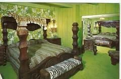 safari room- Madonna inn, San Luis Obispo, CA- 1970s postcard (912greens) Tags: silly rooms beds kitsch postcards hotels tacky 1970s decor safaris jungles safariroom