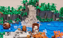 The dwarves meet Bard the Bowman (SEdmison) Tags: castle lego convention tolkien dwarves jrrtolkien thehobbit legoconvention brickscascade brickscascade2016