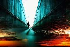 Lomo  into a blood red sky (lomomowlem) Tags: sunset sky silhouette clouds lomo lca xpro lomography xprocess doubleexposure crossprocess lofi pedestrian tunnel analogue subterranean expiredfilm kodakelitechrome ebx colourstreambrighton