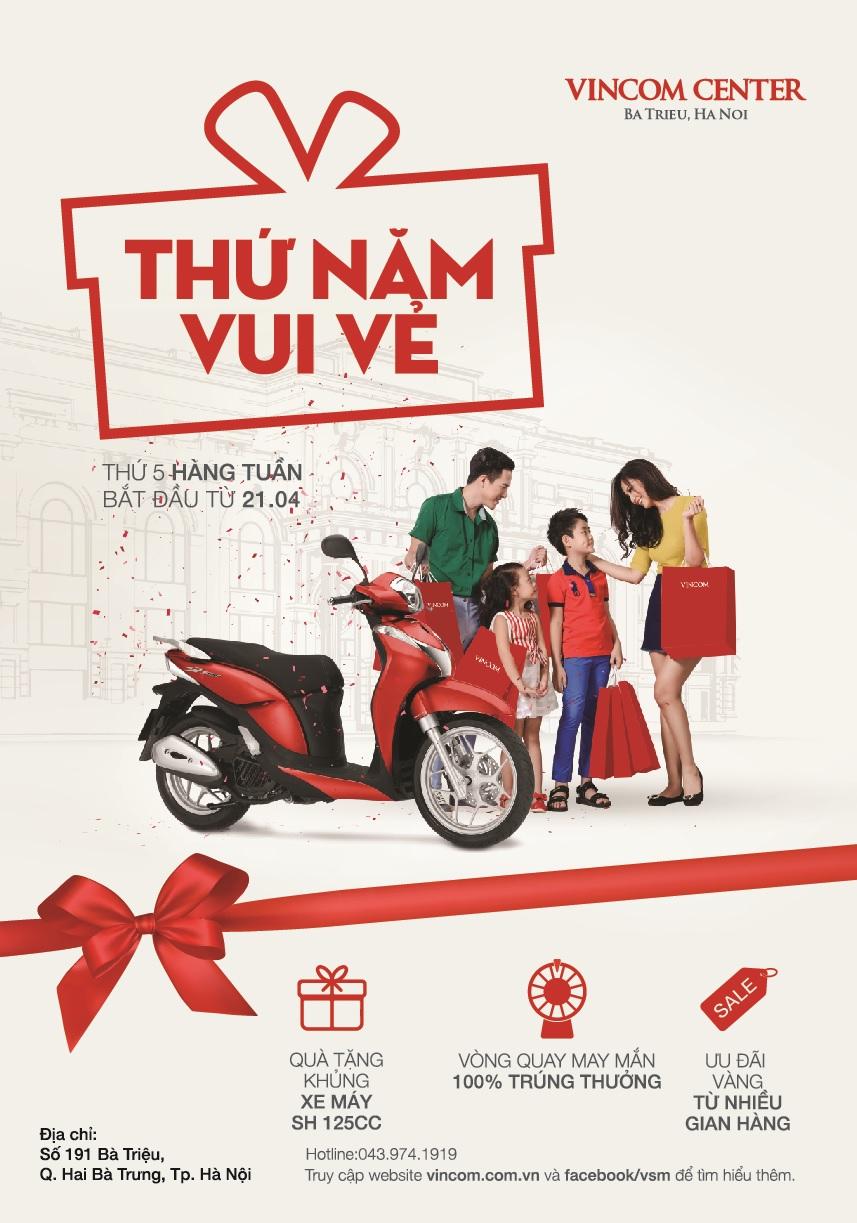 Ưu đãi vàng 'Thứ Năm Vui Vẻ' tại Vincom Center Bà Triệu