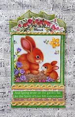 March Calendar ATC (Kathy Skaggs) Tags: rabbit bunny bunnies atc artisttradingcard mixedmedia rabbits easterbunny easterrabbit swapbot collageatc marchcalenderatc