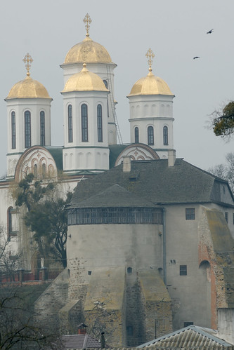 Epiphany cathedral and Prince Ostrozkii castle in Ostroh, Ukraine