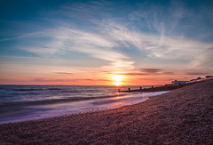 Hurst Castle (hattiebella) Tags: ocean sunset sea england sky sun castle beach water clouds coast hall seaside waves photographer sundown blind dusk south hampshire pebble southampton groyne hattie hurst