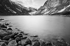 Nigarsbreen glacier... (Fab2brest) Tags: longexposure blackandwhite mountain lake norway landscape rocks glacier nigarsbreen jotesdalennationalpark