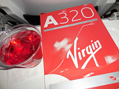 inflight LAS-SFO (kenjet) Tags: red inflight cabin drink juice safety virgin cranberry card airline airbus service onboard airliner a320 safetycard midnightride virginamerica a320214 n629va