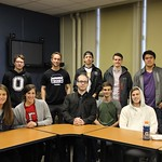 Students pose together in an accounting/financial economics class.