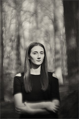 mona lisa (AdisX | Andrius Maciunas) Tags: wood bw woman nature girl forest lens diy jung bokeh lisa mona f32 achromatic 84mm achromat outdour